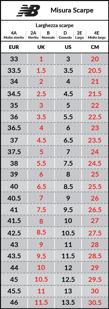 tabella misure scarpe new balance - 50% di sconto - www.magellano.org