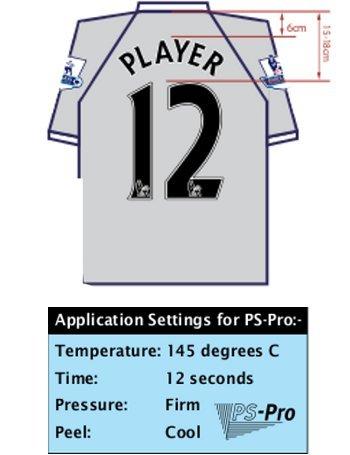 Tabella taglie e misure Personalizzazione Nameset  originale x maglia calcio Liverpool 2013 15 PS PRO PVC Bianco Home Third