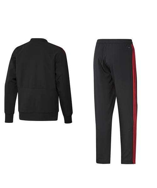 8cad9ea465173 ... Tejido Chandal Adidas negro original 2018 19 MANCHESTER UNITED Man-presentación  tejido chándal MANCHESTER UNITED ...