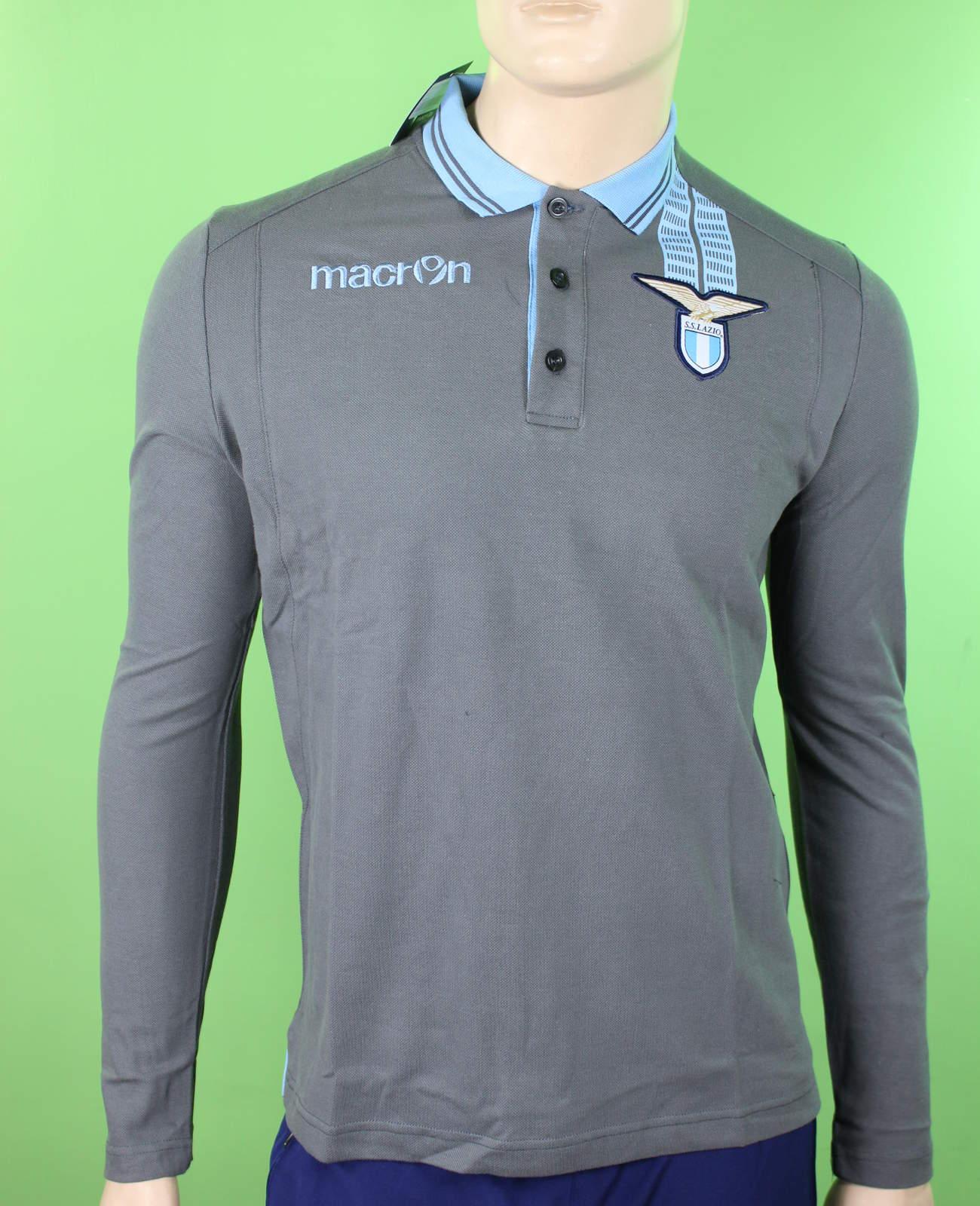 SS Lazio Macron Polo Maglia maniche lunghe Uomo Grigio 2013 14 Cotone  eBay