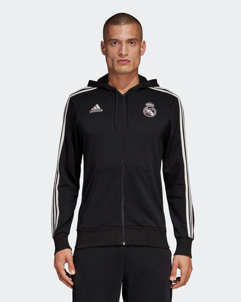 Real Madrid Adidas Giacca felpa cappuccio sportiva 2018 19 3 Stripes Fz black