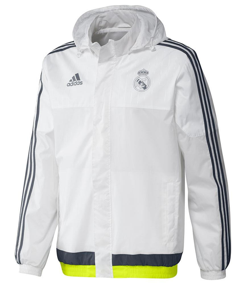 all weather real madrid adidas training jacke 2015 16 wei. Black Bedroom Furniture Sets. Home Design Ideas
