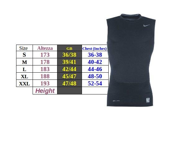 Tabella taglie e misure Intimo tecnico base Layers maglia termica Nike Pro SS Uomo