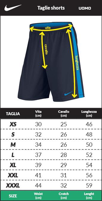 Tabella taglie e misure Pantaloncini Cotone Nike Sportswear Uomo Blue