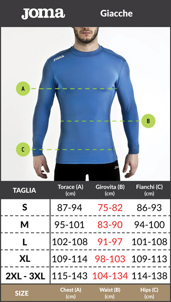 Tabella taglie e misure Felpa Allenamento Training Sweatshirt TOP Originale Joma Cremall champion II Uomo