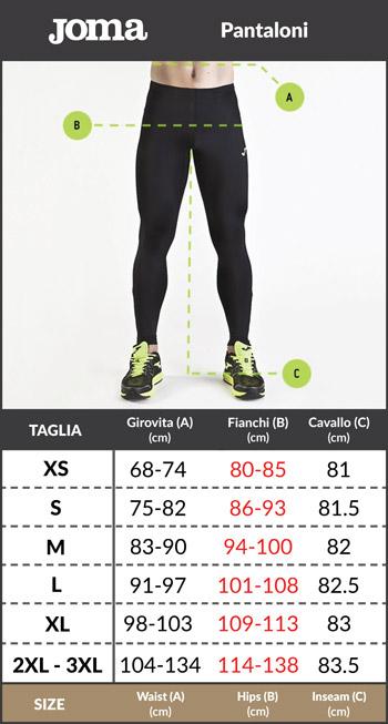 Tabella taglie e misure Pantaloni tuta cotone sweat joggers felpa JOMA COMFORT tasche a zip Lifestyle sportswear