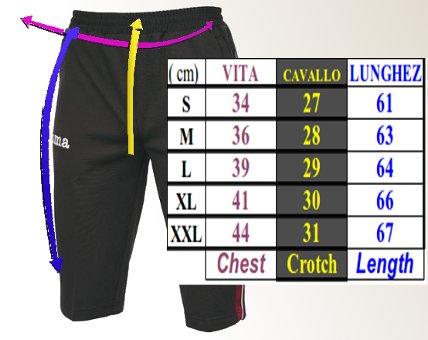 Tabella taglie e misure Pantaloncini Pinocchietto 3/4 Pants Training Joma Pirata Uomo