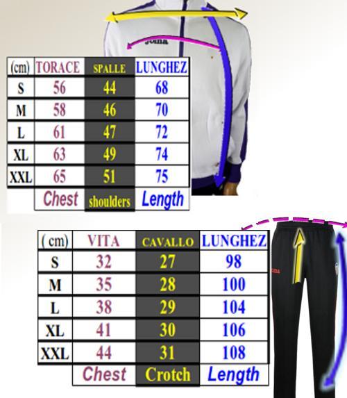 Tabella taglie e misure Tuta Allenamento Joma Champion II Zip Tipo Legea Uomo