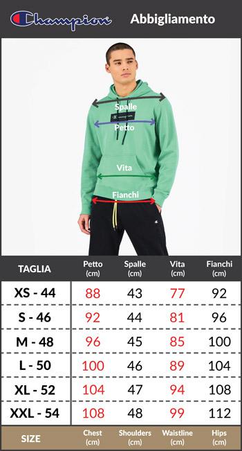 Tabella taglie e misure pantaloncini sportivi bermuda CHAMPION bermuda Cotone Uomo Tasche con zip nero