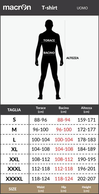 Tabella taglie e misure Polo lazio Macron Linea Fan 2018 19 cotone Jersey Uomo Ufficiale