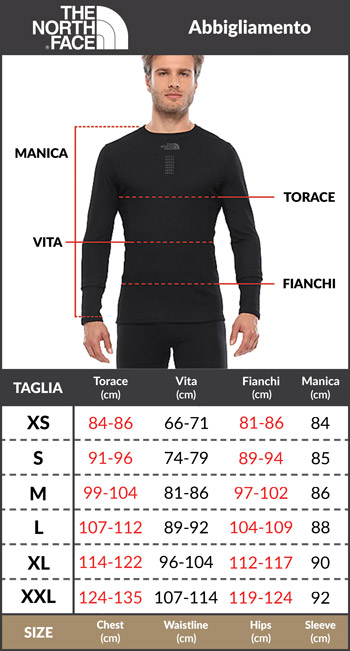 Tabella taglie e misure polo maglia The north Face maniche corte nero uomo Cotone piquet