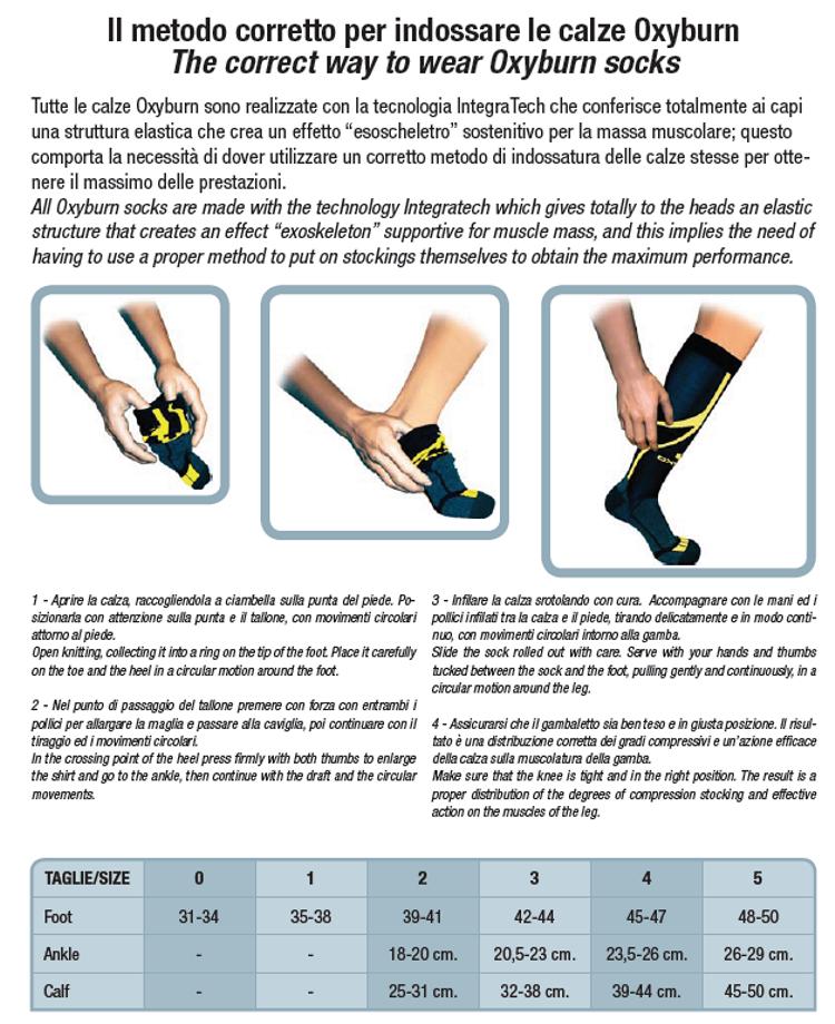 Tabella taglie e misure Calze calzini Oxyburn 1262 Levitate Short-Cut Running palestra Unisex