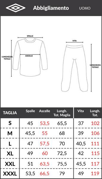 Tabella taglie e misure Maglia Maglietta T-shirt tempo libero UMBRO ESSENTIAL Sportswear Lifestyle Cotone Rosso Fiamma uomo maniche corte