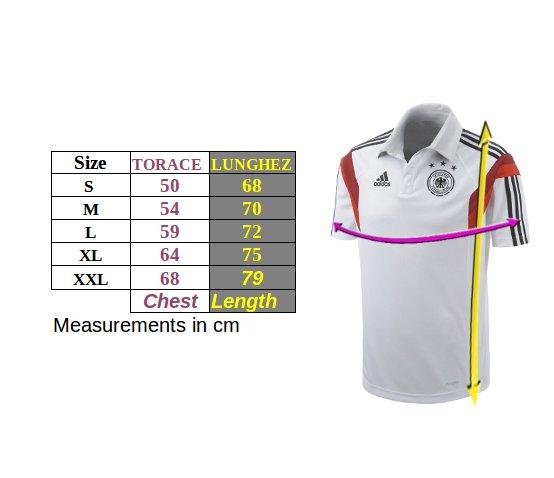 Tabella taglie e misure Polo Maglia Germania DFB adidas Mondiali 2018 Uomo Grigio Cotone Originale