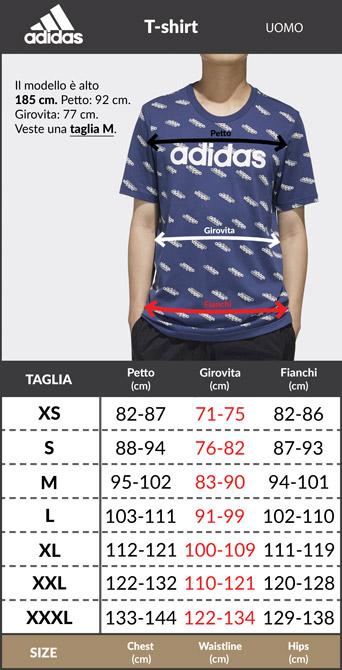 Tabella taglie e misure maglia maglietta T-Shirt tempo libero Adidas FREELIFT GRAPHIC TECH cotone Blu uomo CLIMALITE