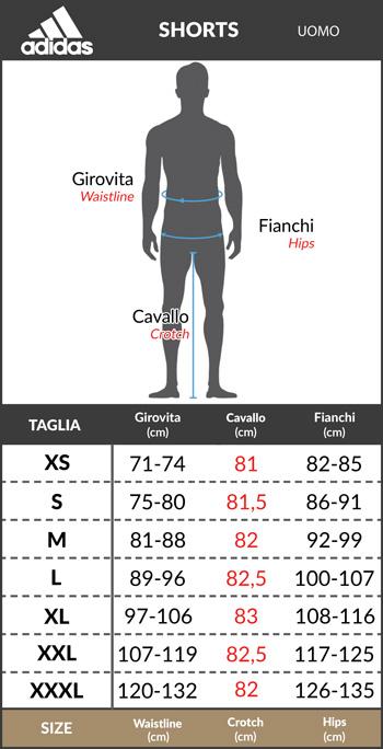 Tabella taglie e misure Pantaloncini allenamento MANCHESTER UNITED Adidas Uomo 2019 20 nero CLIMACOOL Originale