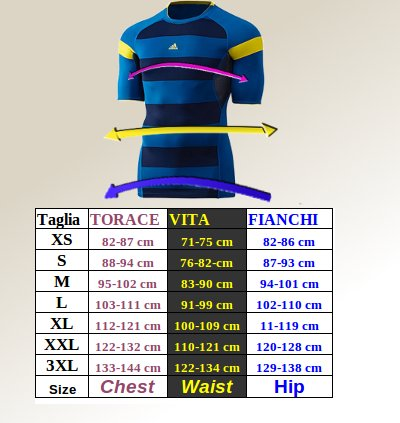 Tabella taglie e misure Intimo Tecnico base layers SS top Originale adidas Techfit Chill GRAPHIC Uomo blu