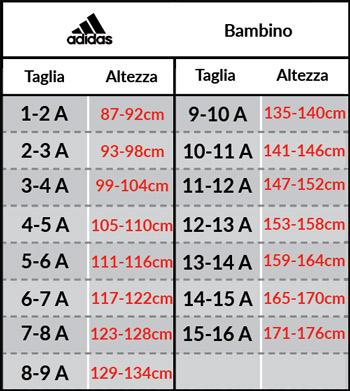 Tabella taglie e misure Tuta allenamento JUVENTUS adidas Pes Versione Panchina originale Ragazzo Bambino 2018 19 Nero
