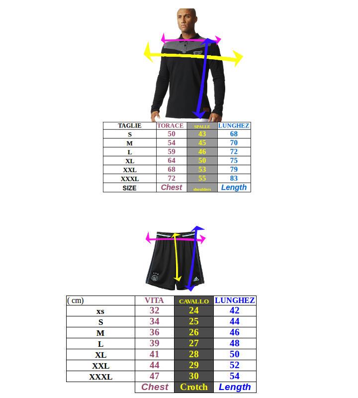 Tabella taglie e misure Completo Maglia Allenamento Pantaloncino Real Madrid Originale adidas Climalite Uomo 2018 19