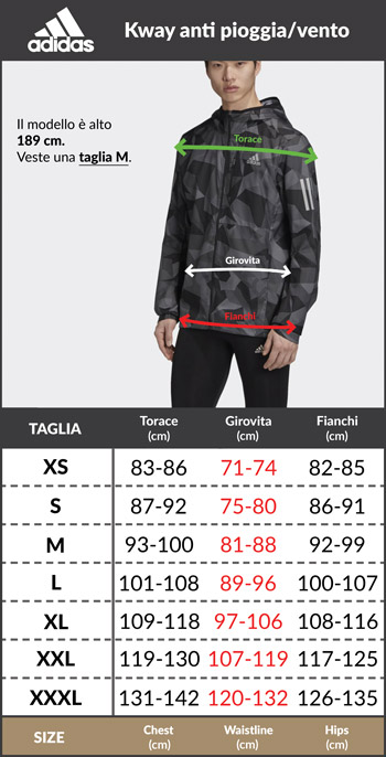 Tabella taglie e misure Giacca Tuta Rappresentanza adidas Tiro 19 Climalite Uomo Blu