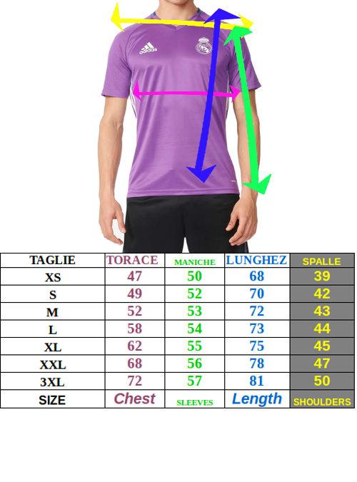 Tabella taglie e misure Maglia Allenamento JUVENTUS FC adidas PRE MATCH climalite  Uomo 2019 20 Tessuto Parley