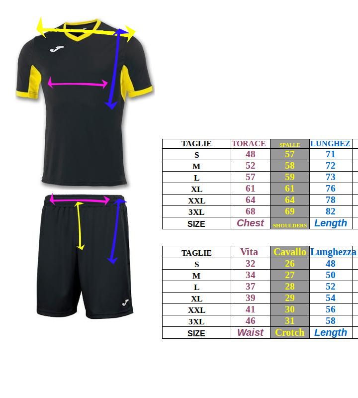 Tabella taglie e misure kit completo calcio Maglia Pantaloncino forniture Joma TOKIO COPA uomo