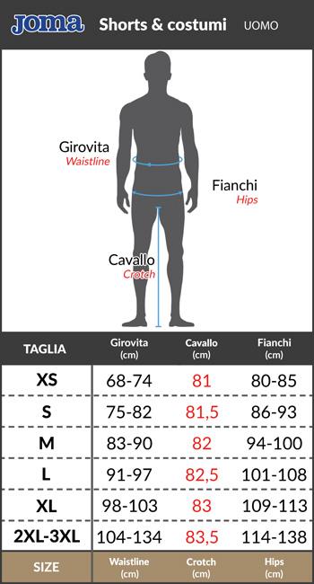 Tabella taglie e misure Bermuda Joma con Tasche Pantaloncini Shorts Originale Uomo