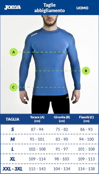 Tabella taglie e misure Intimo Tecnico Originale Joma Maglia Brama Emotion Collo alto Maniche Lunghe Uomo
