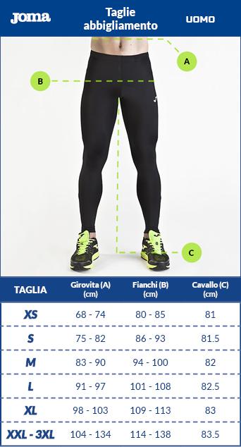 Tabella taglie e misure Intimo tecnico panta collant leggings calzamaglia Joma Brama Academy Thermal long Tight