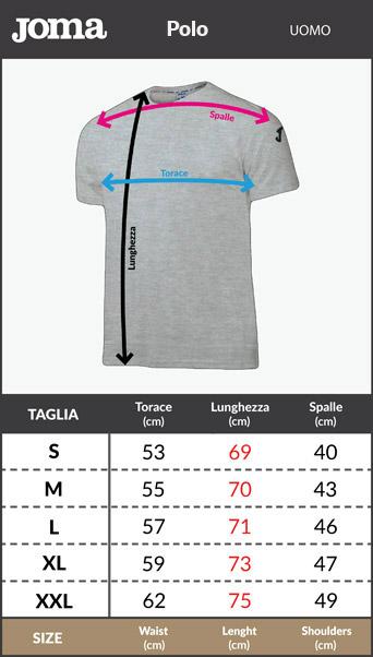 Tabella taglie e misure Maglia Maglietta T-Shirt tempo libero Atalanta Passeggio 2018-19 blu nero