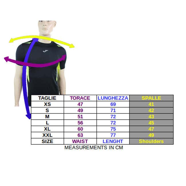 Tabella taglie e misure Maglia Allenamento Top Running Originale Joma Uomo 2015 Giallo