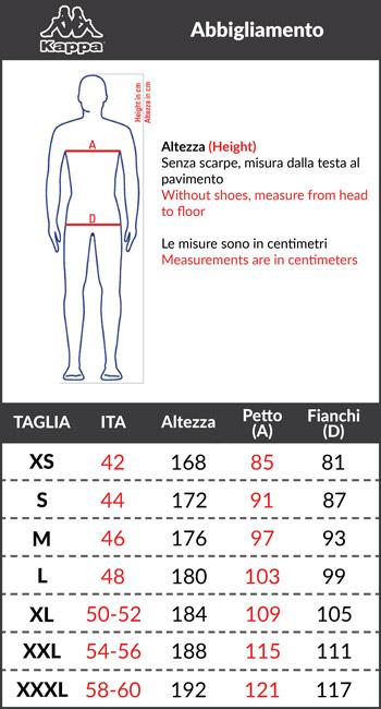 Tabella taglie e misure Tuta SCC NAPOLI Kappa Vintage Limited Edition Sportiva Tempo Libero Originale Uomo Stagione 2018 19 Azzurro Blu