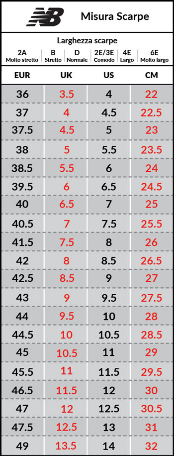 Tabella taglie e misure Scarpe sportive Sneakers New Balance ML 574 Lifestyle Uomo Nero