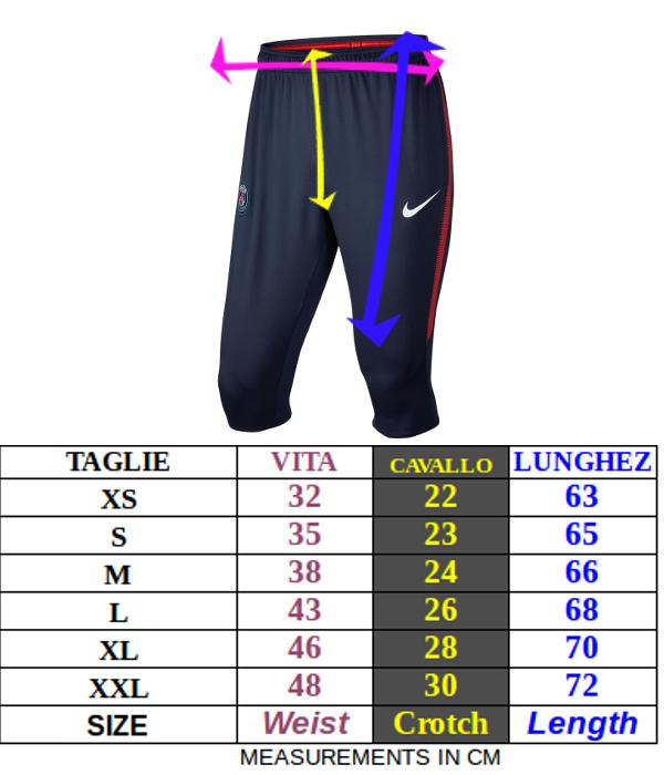 Tabella taglie e misure Pantaloncini 3/4 pants Pinocchietti barcellona FC Nike Dry Squad allenamento uomo originali 2017 18 Amaranto