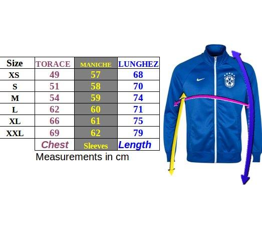 Tabella taglie e misure Giacca Sportiva Cappuccio PSG Nike Full zip Sportswear Uomo Blu 2018 19 cotone