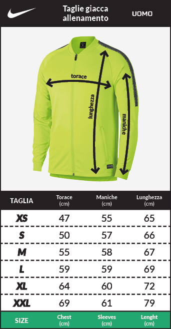 Tabella taglie e misure Giacca Allenamento Tottenham Hotspur Nike Dry Squad knit Originale Uomo 2018 19 Versione panchina blu
