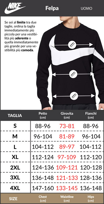 Tabella taglie e misure Felpa Sportiva Nike SPORTSWEAR SWOOSH Crew cotone Uomo Originale nero