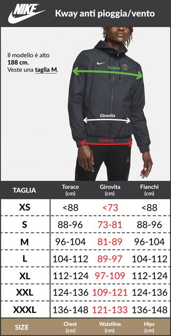 Tabella taglie e misure Giacca Sportiva FC BARCELLONA Nike Authentic Windrunner Sportswear Nero 2020 21 uomo