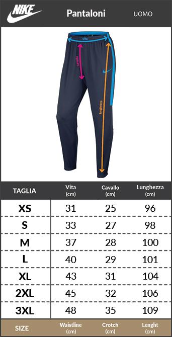 Tabella taglie e misure Pantaloni Tuta allenamento TOTTENHAM HOTSPUR F.C. Nike dry Squad Uomo 2018 19 Blu con tasche a zip