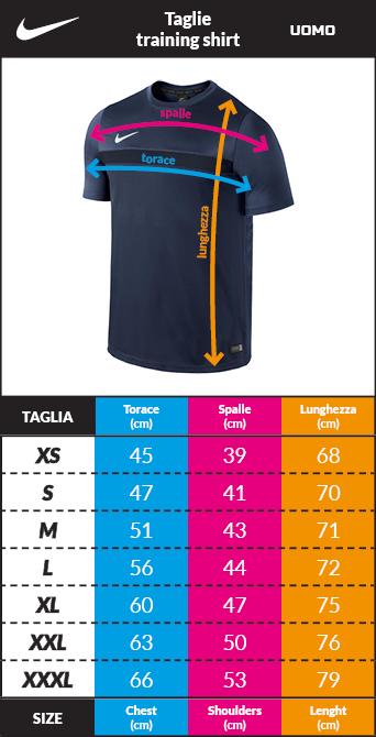 Tabella taglie e misure Maglia Allenamento LFC liverpool Nike pre match Dry Top Uomo 2020 21 Uomo Nero