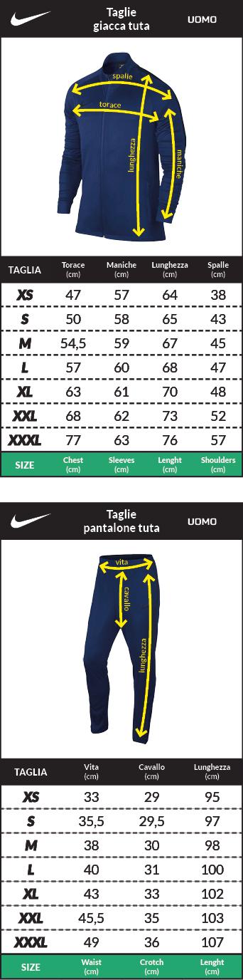 Tabella taglie e misure Tuta Allenamento AS Roma Nike Mezza zip Uomo 2018 19 Giallo