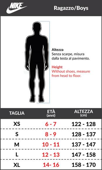 Tabella taglie e misure Tuta Allenamento FC Inter Originale Nike Versione panchina RAGAZZO 208 19 Nero