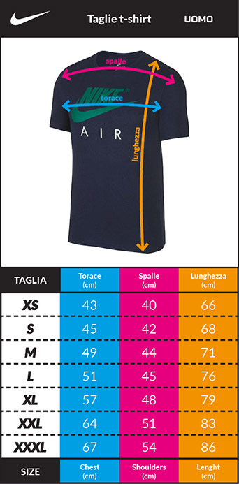 Tabella taglie e misure T-shirt tempo libero Maglia Maglietta INTER FC Nike Tee EVERGREEN 2019 20 Uomo Nero Originale