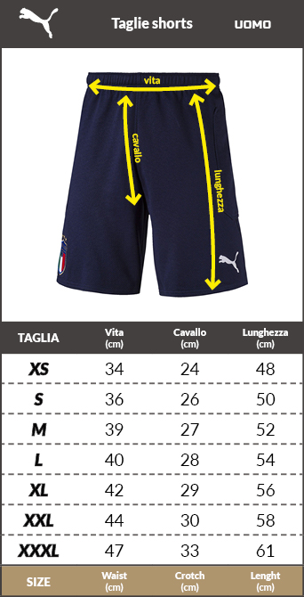 Tabella taglie e misure pantaloncini Calcio AC milan Puma Home Away match Bianco uomo 2020 21