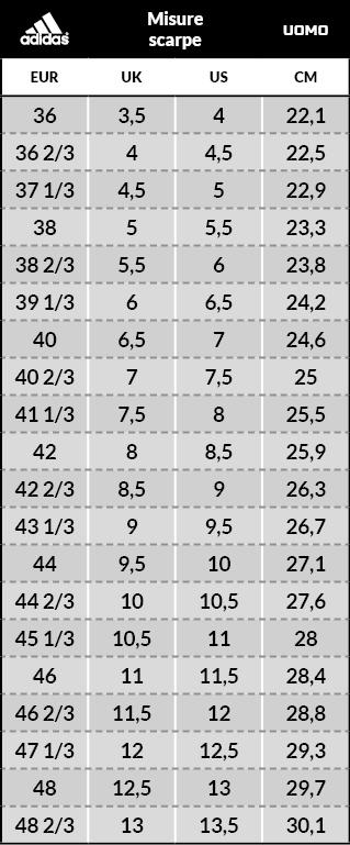 Tabella taglie e misure Scarpe Calcetto Adidas NEMEZIZ TANGO 18.3 Turf Trainers Uomo 2019 ARCHETIC Nero